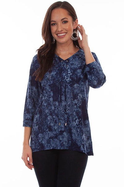 Scully Ladies' Honey Creek Navy Print Hi/Lo Top HC691