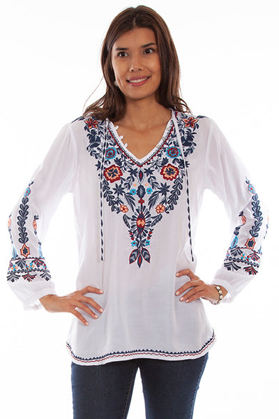 Scully Honey Creek Floral Embroidered Pullover Front #719696