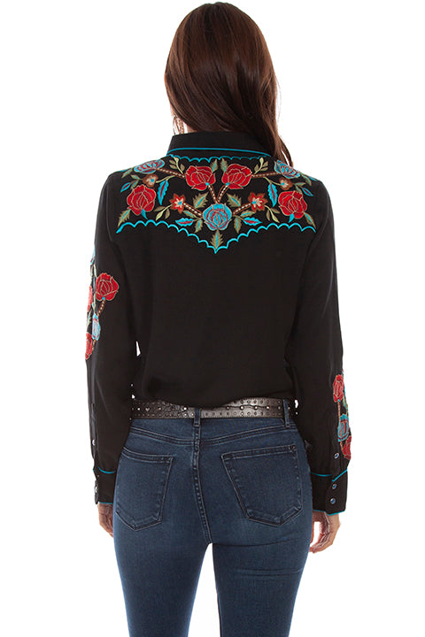 Scully Honey Creek Floral Bouquet Embroidered Blouse Back #719698