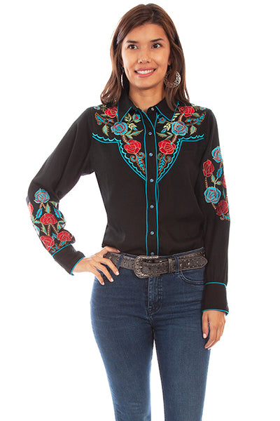 Scully Honey Creek Floral Bouquet Embroidered Blouse Front #719698