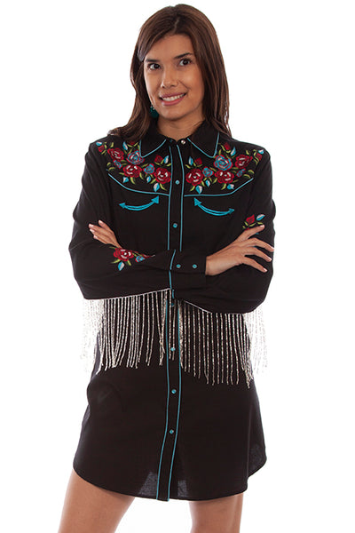 Scully Honey Creek Western Shirt Dress with Fringe HC700 Front