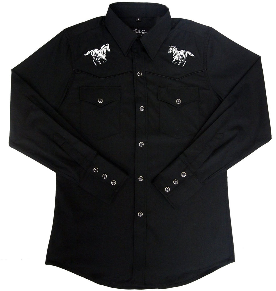 White Horse Apparel Children's Fancy Embroidered Horses on Black