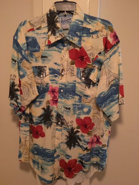 Rockmount Ranch Wear Mens Western Hawaiian Floral Print Short Sleeve Front