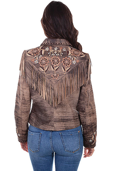 Scully Ladies' Leather Suede Jacket Fringe Floral Embroidery Brown Front