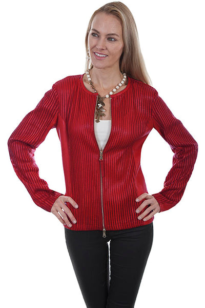 Scully Ladies' Leather Jacket Elasticized Panels Red Front