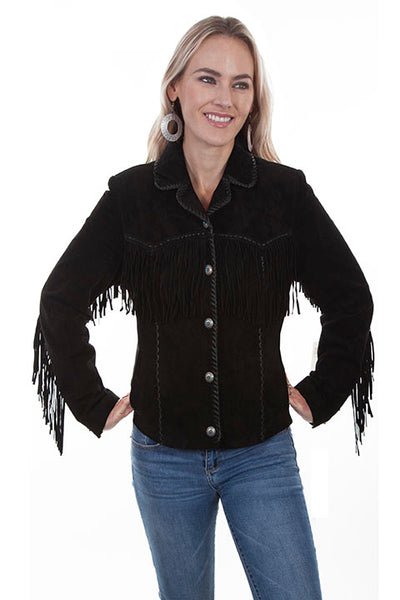 Scully Ladies' Leather Suede Fringe Jacket Black Front