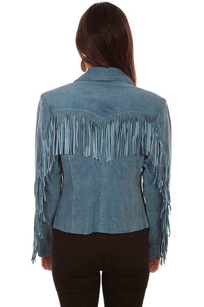 Scully Ladies' Leather Jacket with Fringe Denim Blue Front