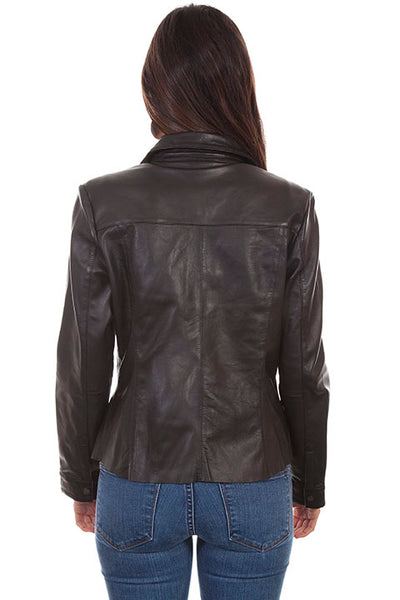 Scully Ladies' Leather Jacket Snap Front Black Front