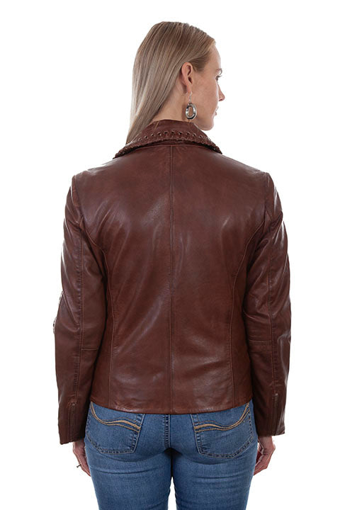 Scully Ladies' Leather Motorcycle Jacket Brown Back #71901030