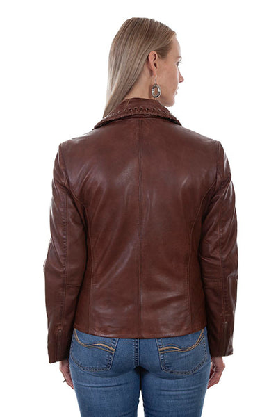 Scully Ladies' Leather Motorcycle Jacket Brown #71901030