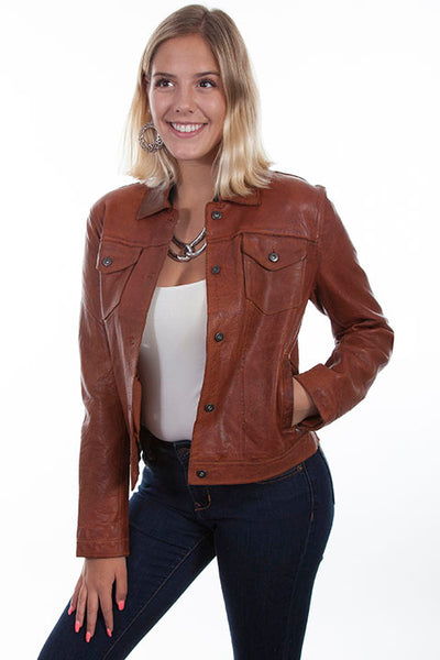 Scully Ladies' Leather Jean Jacket Front