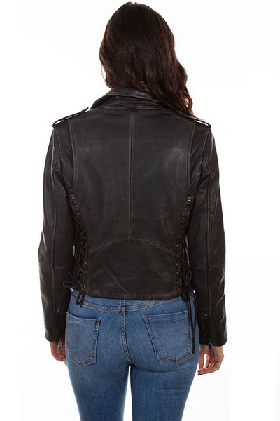 Scully Ladies' Leather Motorcycle Jacket with Embroidery and Studs Front