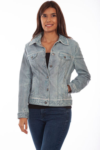 Scully Ladies' Leather Jean Jacket Denim Front
