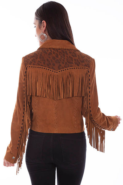 Scully Ladies' Leopard Print Leather Jacket Fringe Front