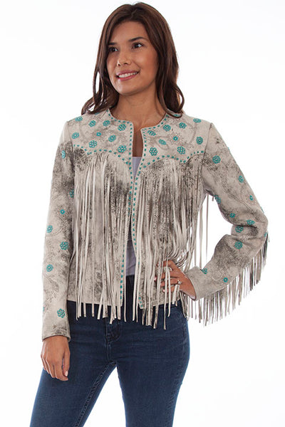 Scully Ladies Vintage Cream Jacket Fringe Beads Front