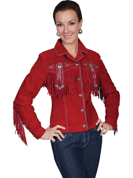 Scully Women's Suede Jacket with Fringe, Conchos, Beads Turquoise Front