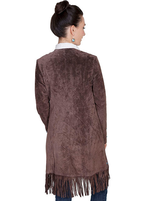 Scully Women's Suede Coat with Embroidery, Studs, Expresso  Back View