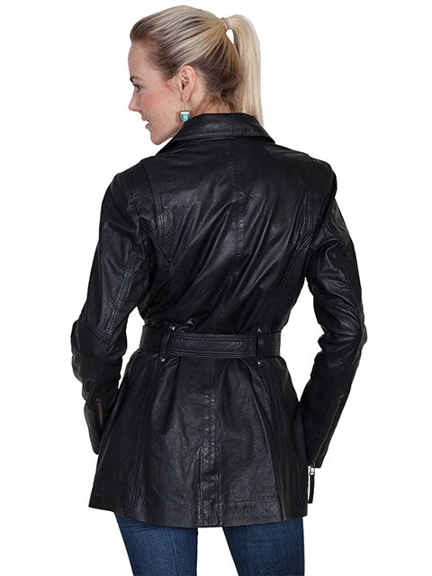 Scully Womens Lamb Car Coat with Zippers, Belt, Black, Back View
