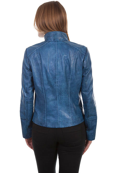 Scully Ladies' Leather Jacket with Stand Up Collar Blue Back