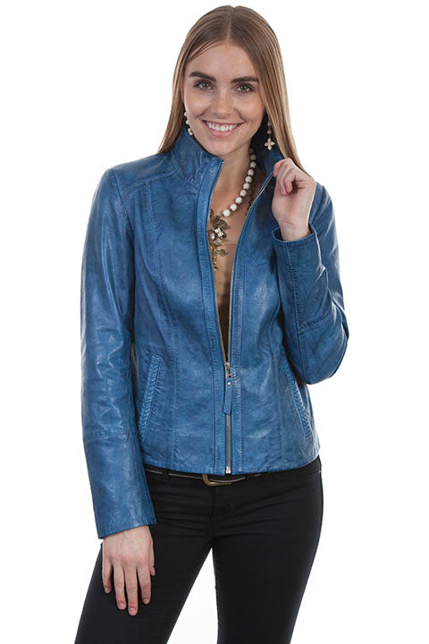 Scully Ladies' Leather Jacket with Stand Up Collar Denim Blue