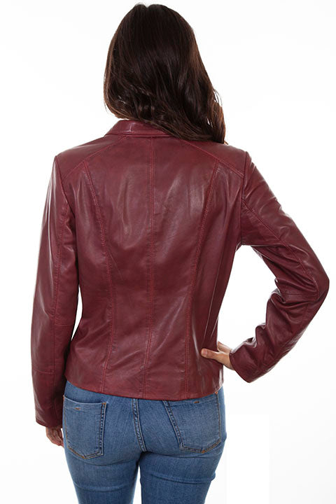 Scully Ladies' Leather Jacket with Stand Up Collar Merlot Back