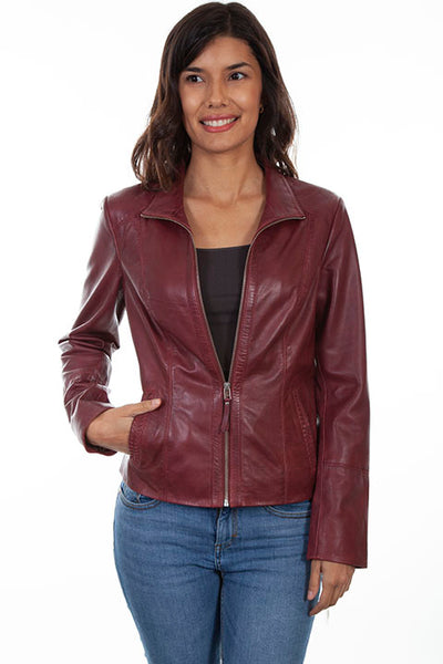 Scully Ladies' Leather Jacket with Stand Up Collar Merlot