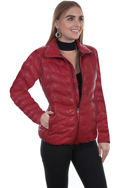 Scully Ladies' Leather Ribbed Jacket Red Front