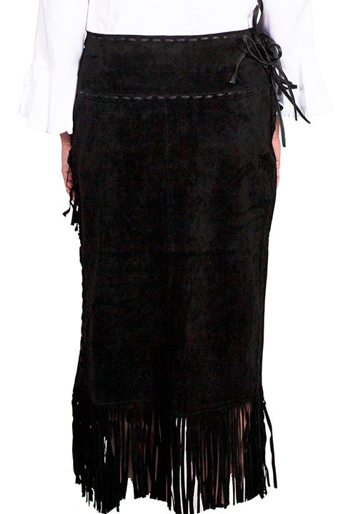 Scully Women's Western Wrap Skirt with Fringe, Black Front