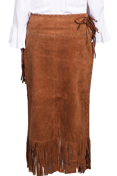 Scully Women's Western Wrap Skirt with Fringe, Cinnamon Front