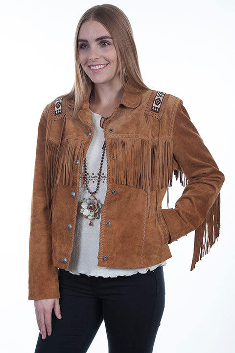 Scully Ladies' Leather Suede Fringe Jacket with Beads and Hand Lacing Bourbon Front