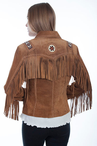 Scully Ladies' Leather Suded Fringe Jacket with Beads and Hand Lacing Cinnamon Brown Front