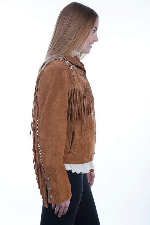 Scully Ladies' Leather Suede Fringe Jacket with Beads and Hand Lacing Bourbon Side