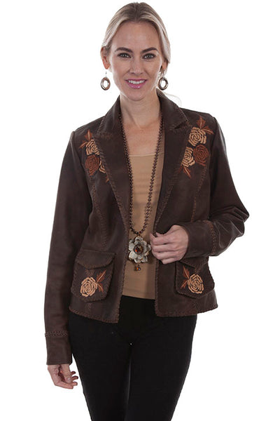 Scully Leather Co. Ladies' Blazer with Floral Embroidery Old Brown Front