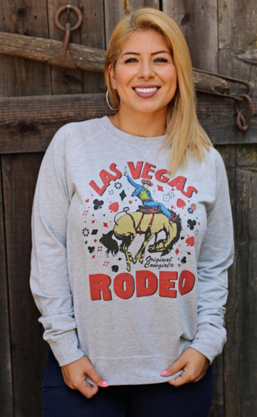 Original Cowgirl Clothing Las Vegas Rodeo French Terry Pullover Soft Heather Grey