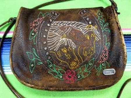Kippys Large Belt Pouch Crossbody Bag with Horses Front