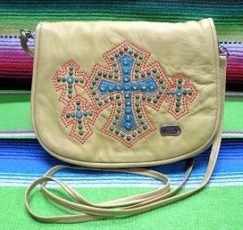 Kippy's Large Belt Pouch with Crosses Palomino Leather Front