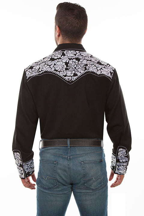 Scully Leather Co. Men's Gunfighter Embroidered Western Shirt Black & White