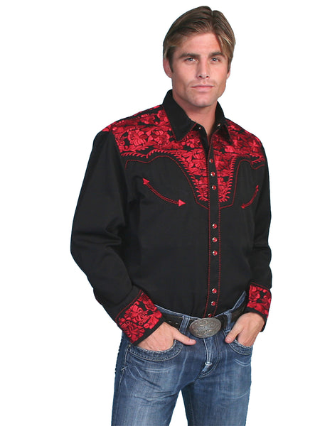 Vintage Inspired Western Shirt Mens Scully The Gunfighter Crimson S-4XL