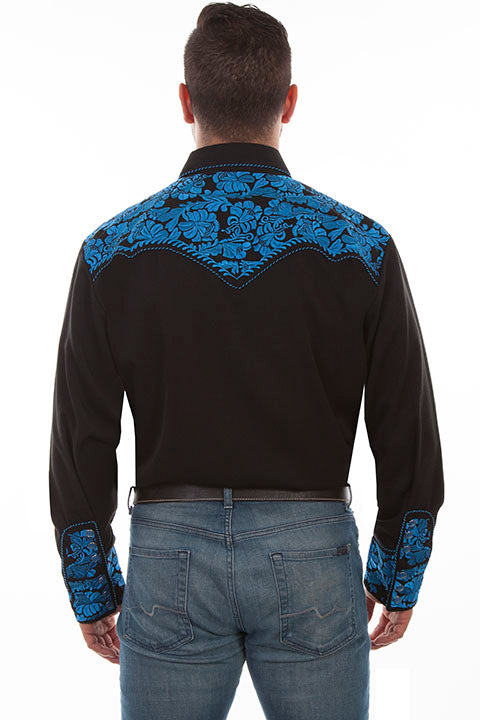 Scully Leather Co. Men's Embroidered Western Shirt Black & Royal Back