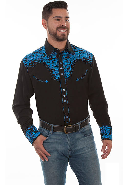 Men/'s Scully Floral Embroidered Western Cowboy Rodeo Retro Snap Shirt Blue