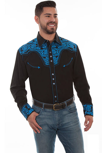 Scully Leather Co. Men's Embroidered Western Shirt Black & Royal