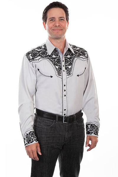 Scully Men's Vintage Inspired Western Shirt Gunfighter Steel Front