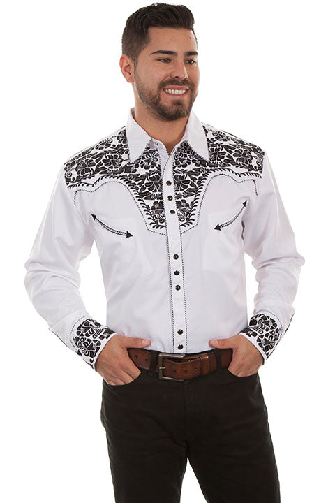 564cba0a04 Scully Leather Co. Men s Gunfighter Embroidered Western Shirt White   Black
