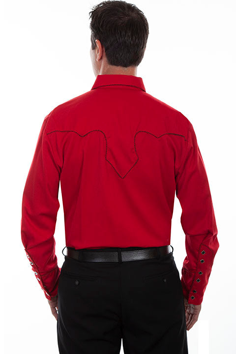 Scully Men's Vintage Western Shirt Crimson with Black Trim Back