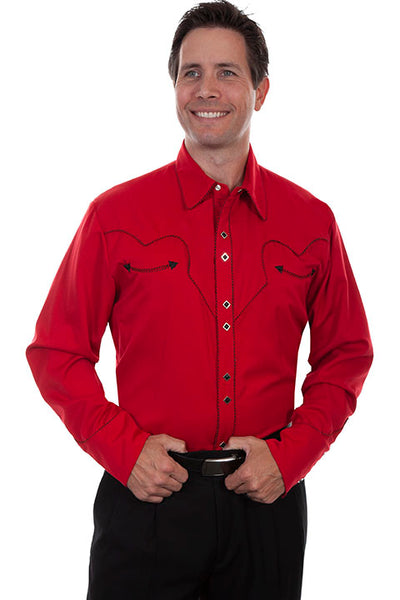 Men's Vintage Western Shirt Collection: Scully Classic Crimson & Black