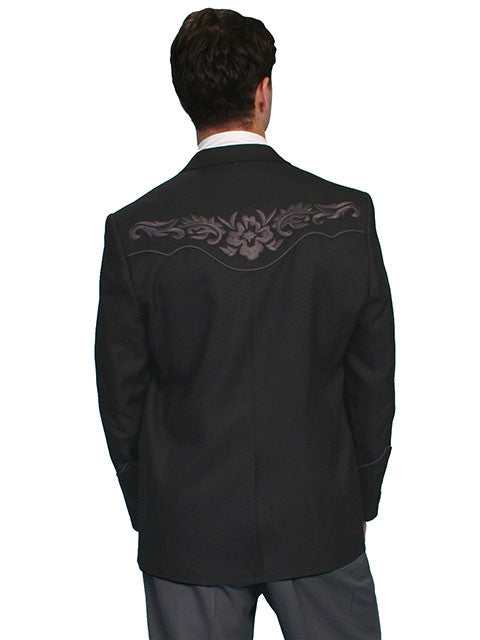 Scully Men's Western Blazer with Charcoal Embroidery on Charcoal Back View