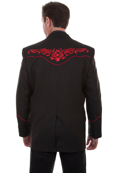 Men's Scully Western Blazer Crimson Red Floral Embroidery on Black
