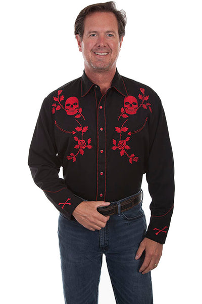 Scully Men's Vintage Inspired Western Shirt Red Skulls and Roses on Black