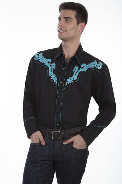 Vintage Inspired Western Shirt Mens Scully Scroll Turquoise Front