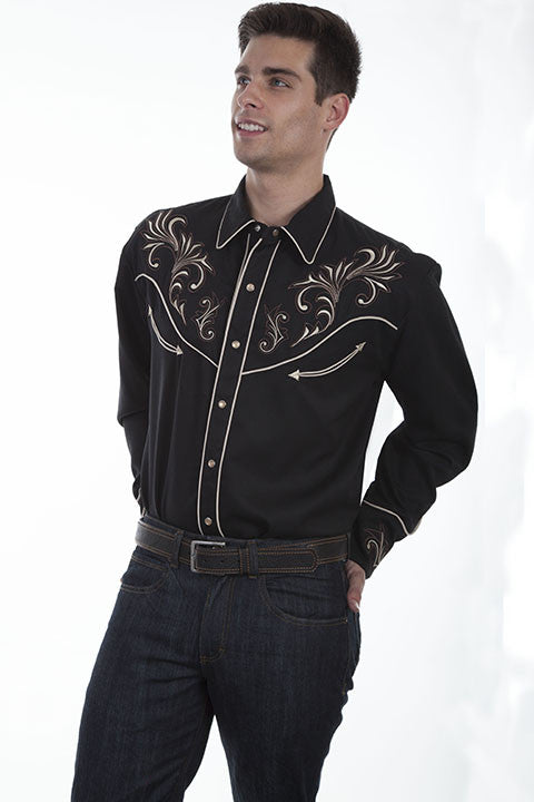Vintage Inspired Western Shirt Scully Mens Floral Scrolls Black 3Q